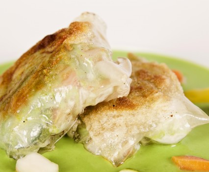 Crispy rice flour pastry filled with vegetables and sauce o f seasonal firstfruit
